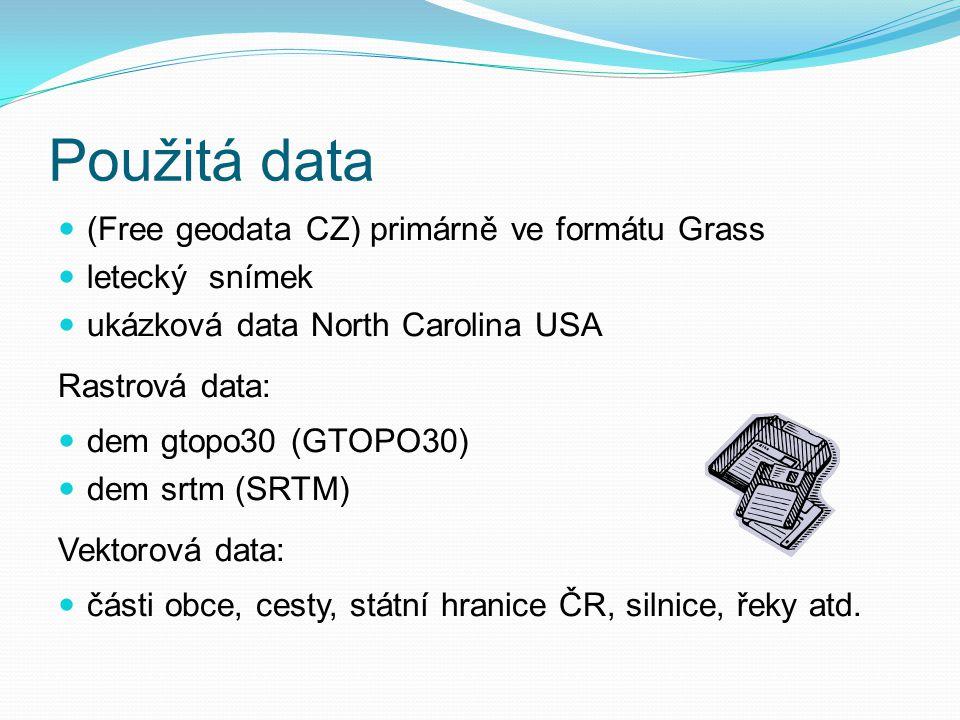 Použitá data (Free geodata CZ) primárně ve formátu Grass