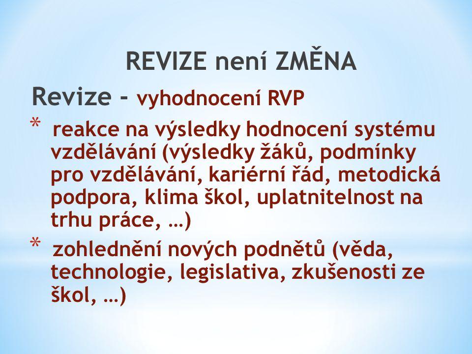 Revize - vyhodnocení RVP