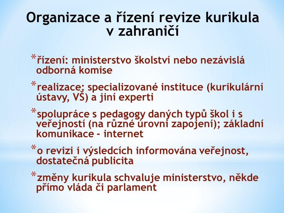 Organizace a řízení revize kurikula v zahraničí