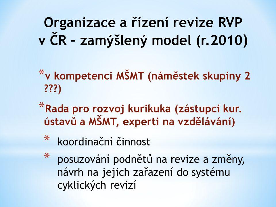 Organizace a řízení revize RVP v ČR – zamýšlený model (r.2010)