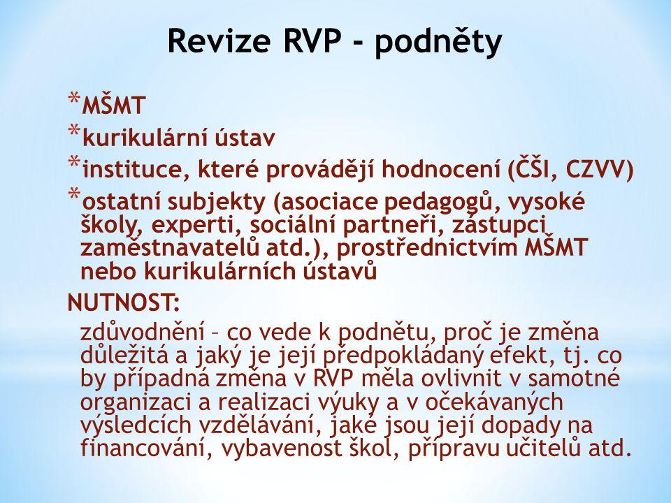 Revize RVP - podněty MŠMT kurikulární ústav