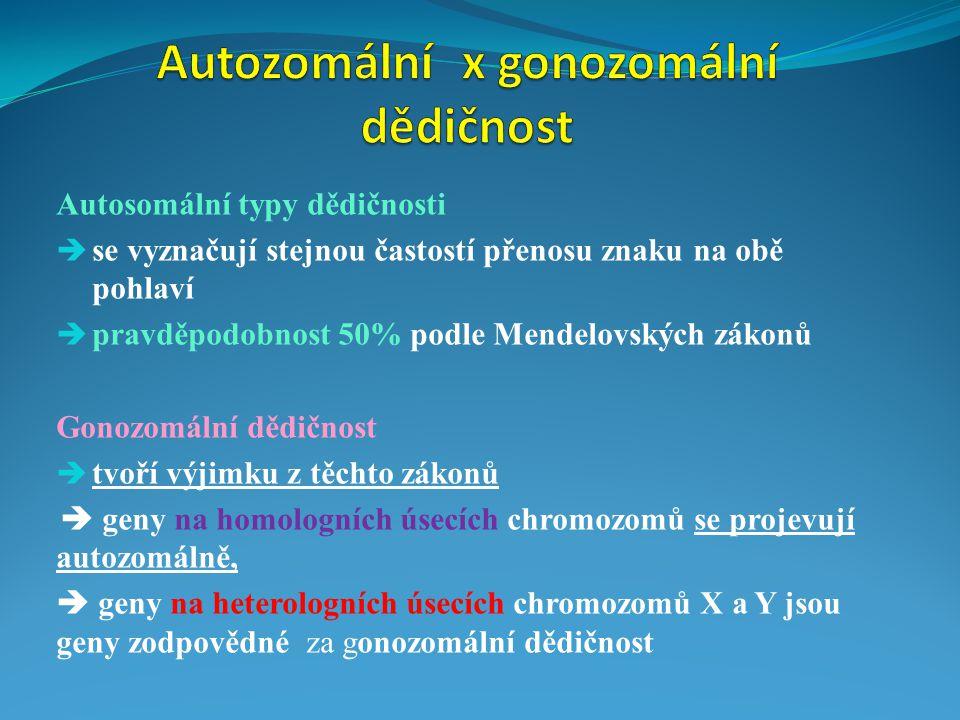 Autozomální x gonozomální dědičnost