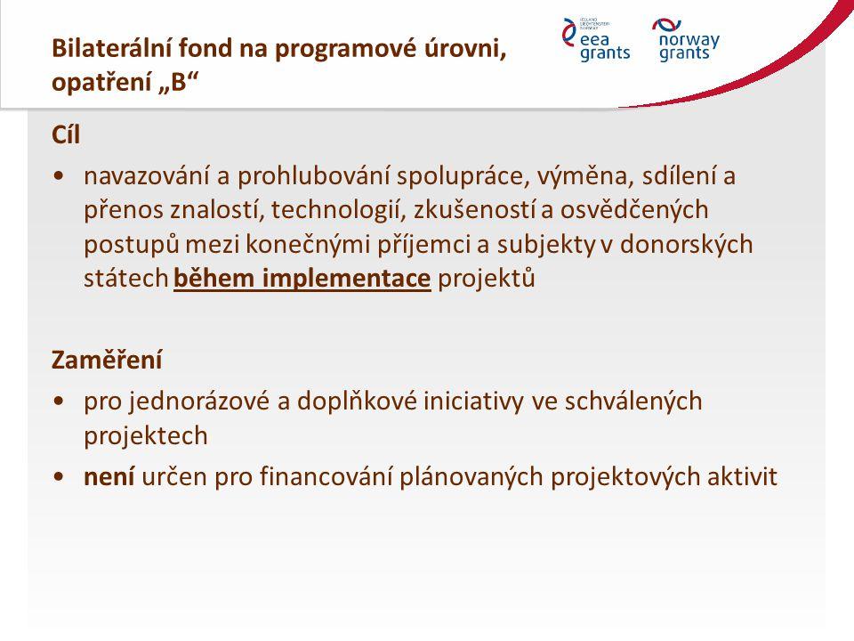 """Bilaterální fond na programové úrovni, opatření """"B"""