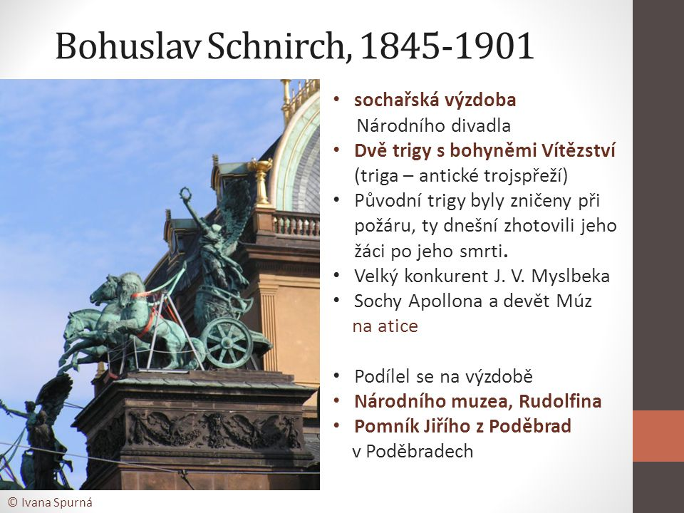 Bohuslav Schnirch, 1845-1901 sochařská výzdoba Národního divadla