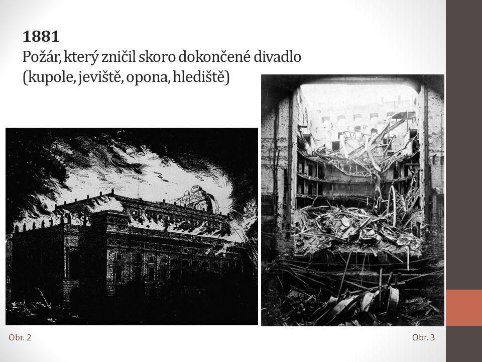 1881 Požár, který zničil skoro dokončené divadlo (kupole, jeviště, opona, hlediště)