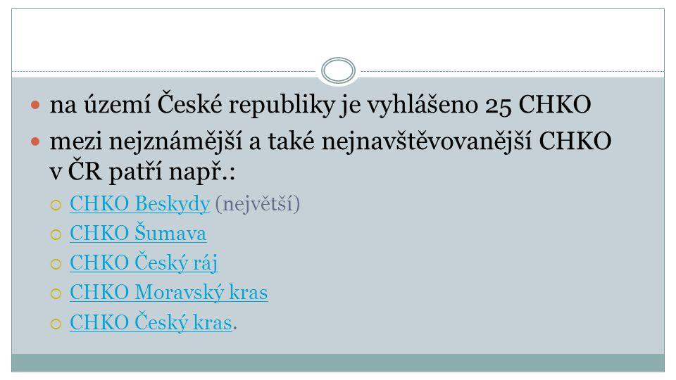 na území České republiky je vyhlášeno 25 CHKO