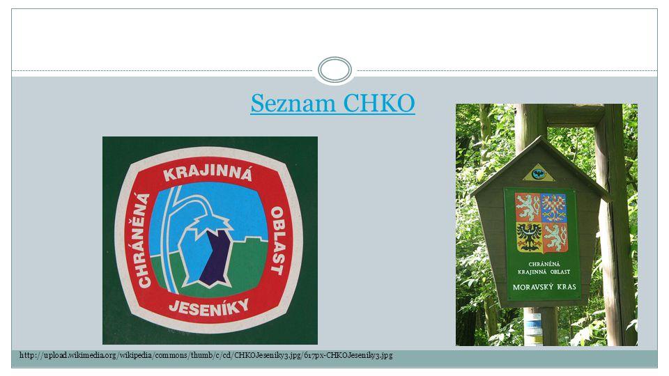 Seznam CHKO http://upload.wikimedia.org/wikipedia/commons/thumb/c/cd/CHKOJeseniky3.jpg/617px-CHKOJeseniky3.jpg.