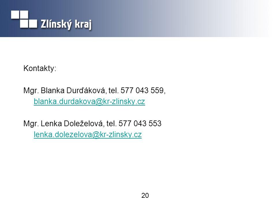 Kontakty: Mgr. Blanka Durďáková, tel. 577 043 559, blanka