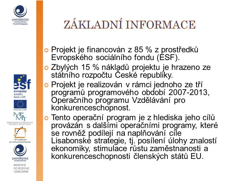 Základní informace Projekt je financován z 85 % z prostředků Evropského sociálního fondu (ESF).
