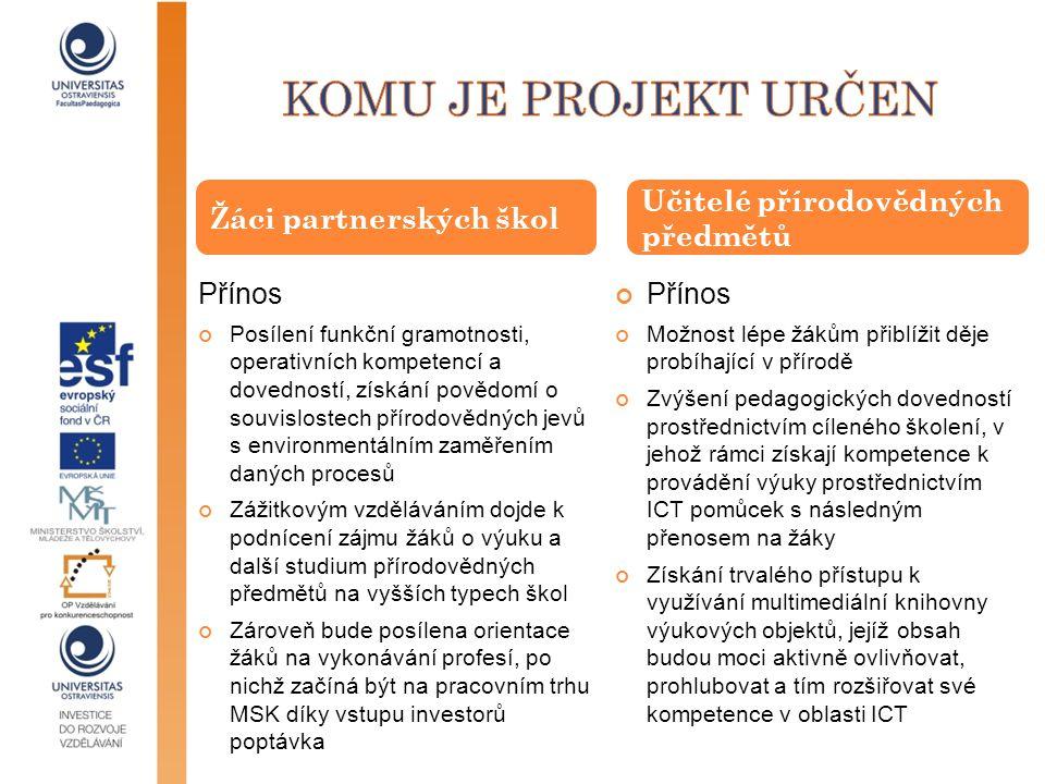 Komu je projekt určen Žáci partnerských škol