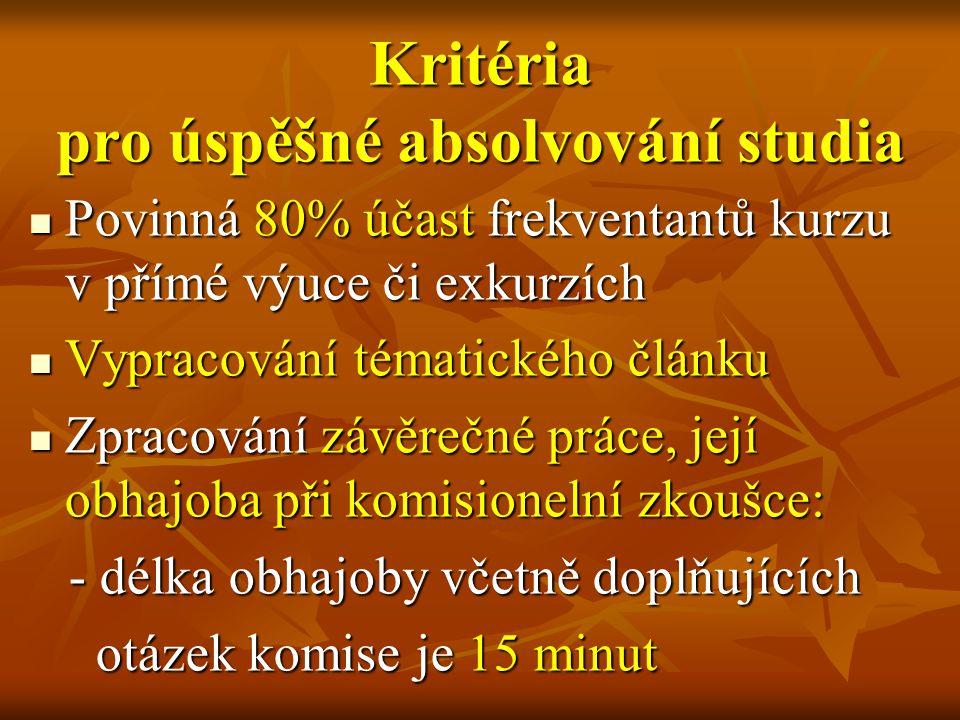 Kritéria pro úspěšné absolvování studia