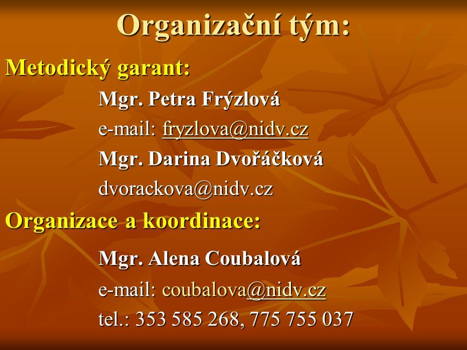 Organizační tým: Mgr. Alena Coubalová Metodický garant: