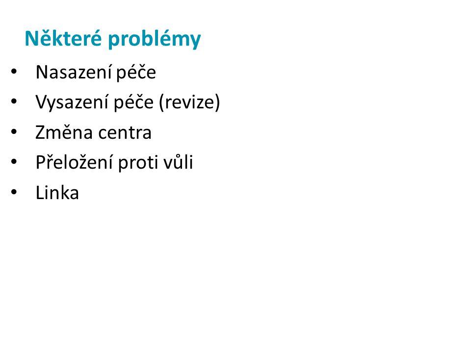 Některé problémy Nasazení péče Vysazení péče (revize) Změna centra