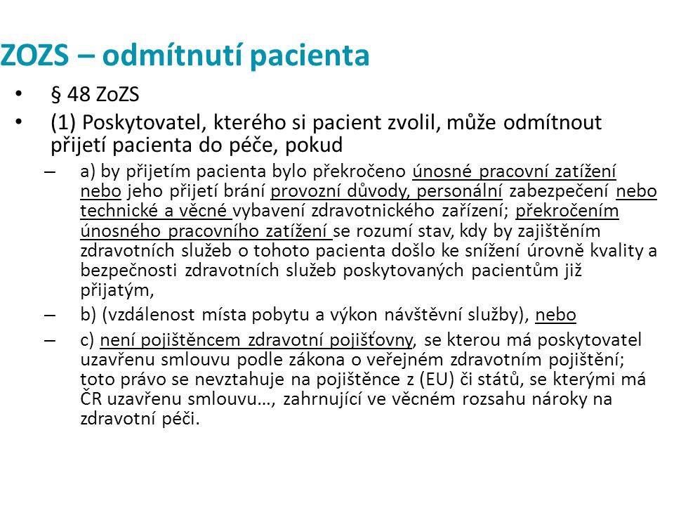 ZOZS – odmítnutí pacienta