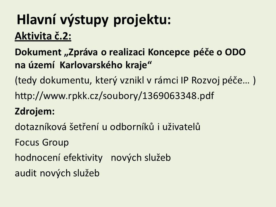 Hlavní výstupy projektu: