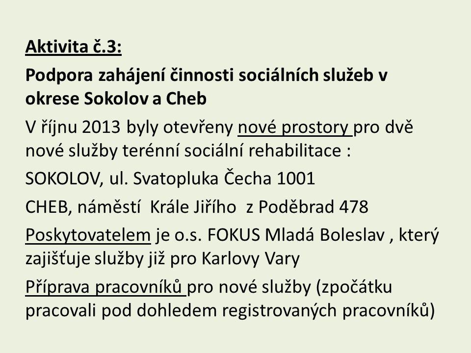 Aktivita č.3: Podpora zahájení činnosti sociálních služeb v okrese Sokolov a Cheb V říjnu 2013 byly otevřeny nové prostory pro dvě nové služby terénní sociální rehabilitace : SOKOLOV, ul.