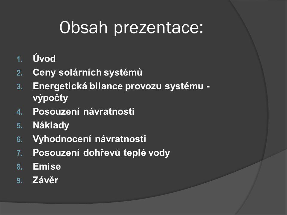 Obsah prezentace: Úvod Ceny solárních systémů