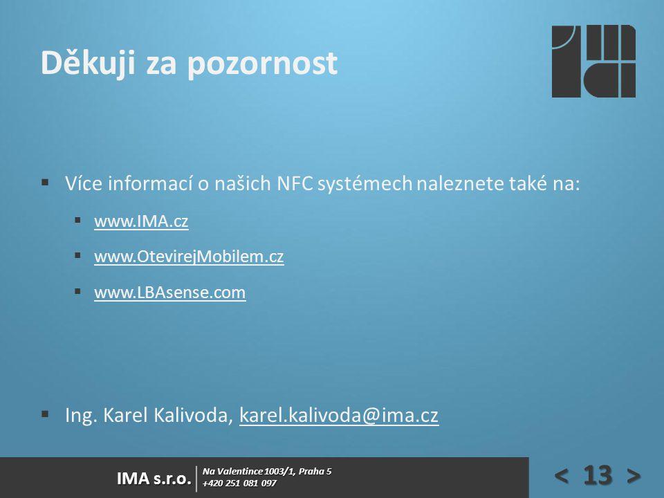 Děkuji za pozornost Více informací o našich NFC systémech naleznete také na: www.IMA.cz. www.OtevirejMobilem.cz.