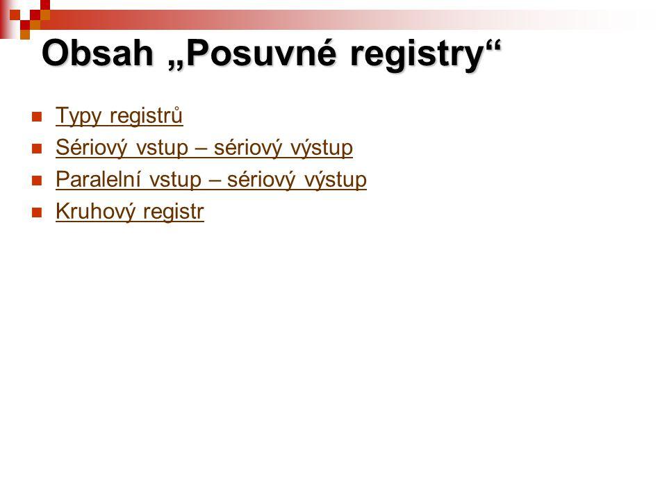 """Obsah """"Posuvné registry"""