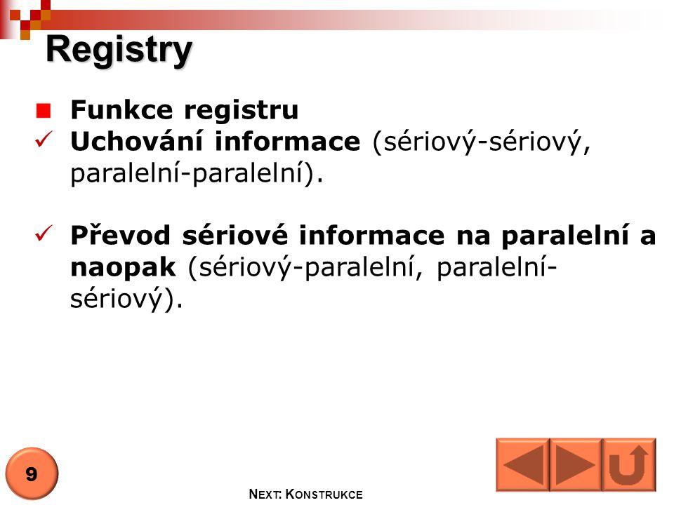 Registry Funkce registru