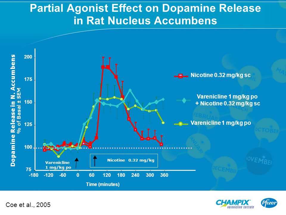 Partial Agonist Effect on Dopamine Release in Rat Nucleus Accumbens