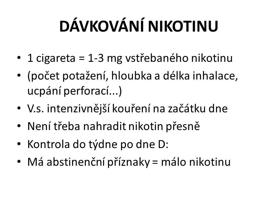 DÁVKOVÁNÍ NIKOTINU 1 cigareta = 1-3 mg vstřebaného nikotinu
