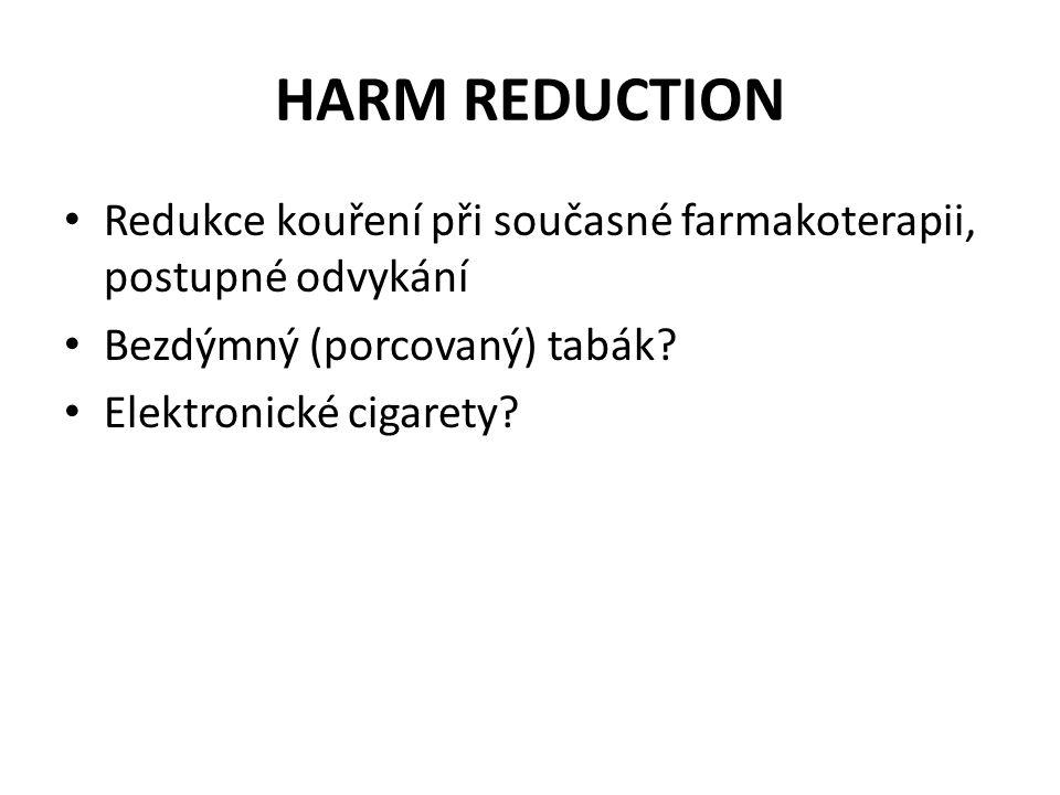 HARM REDUCTION Redukce kouření při současné farmakoterapii, postupné odvykání. Bezdýmný (porcovaný) tabák