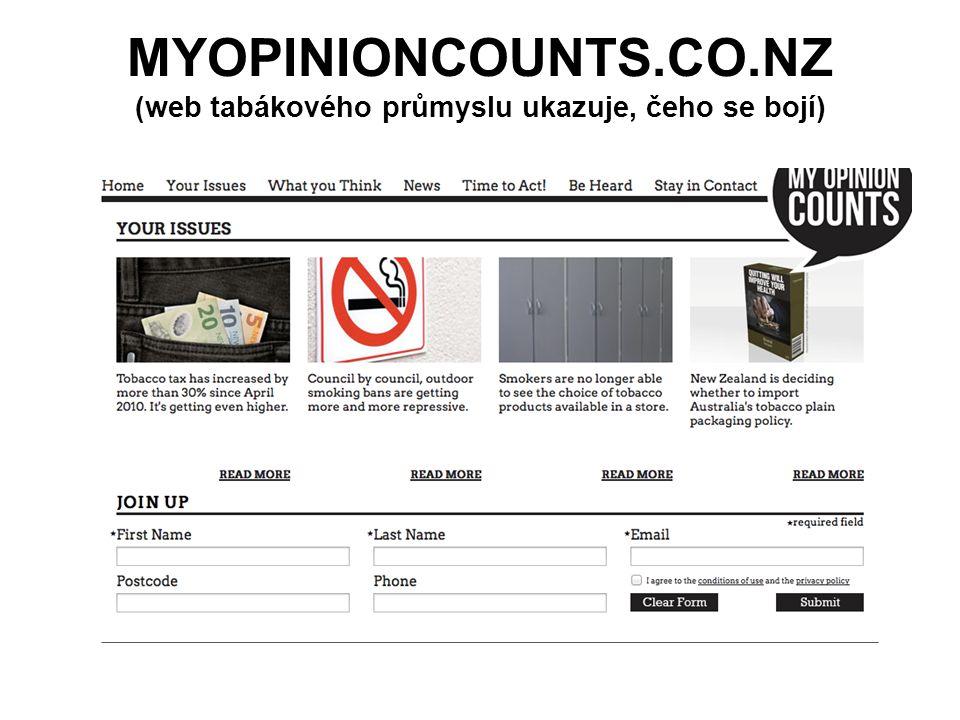 MYOPINIONCOUNTS.CO.NZ (web tabákového průmyslu ukazuje, čeho se bojí)