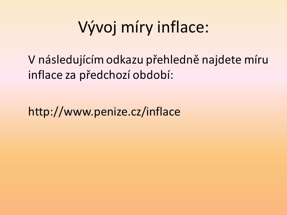 Vývoj míry inflace: V následujícím odkazu přehledně najdete míru inflace za předchozí období: http://www.penize.cz/inflace