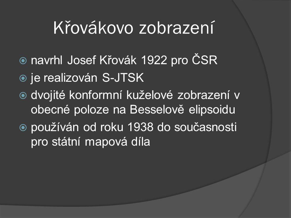 Křovákovo zobrazení navrhl Josef Křovák 1922 pro ČSR