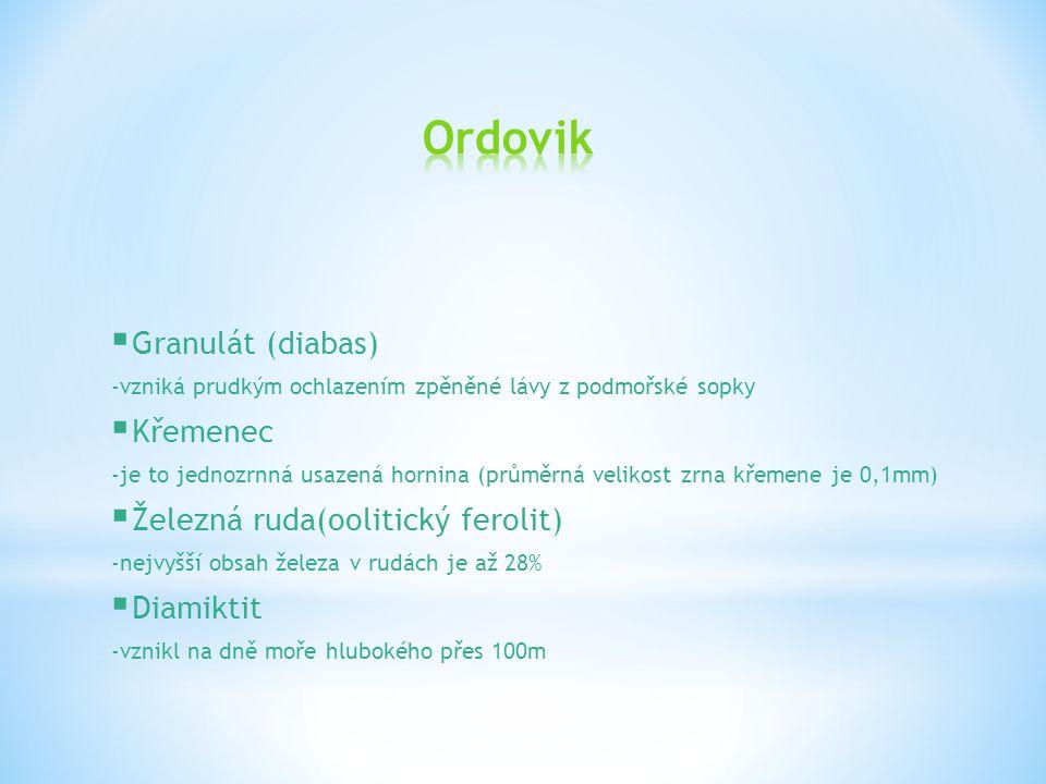 Ordovik Granulát (diabas) Křemenec Železná ruda(oolitický ferolit)