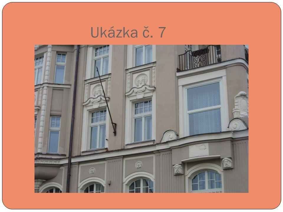 Ukázka č. 7 Liberecká ulice 8 – obytný dům z roku 1913 – architekt Robert Hemmrich (pozdní secese).