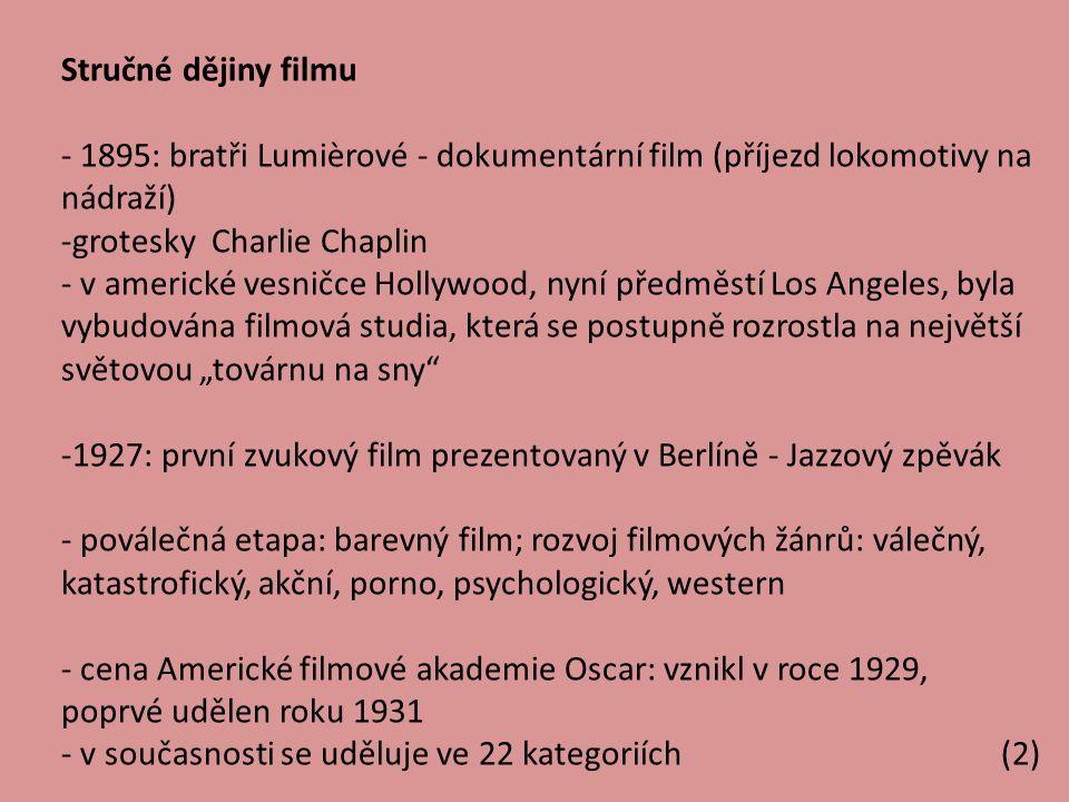 Stručné dějiny filmu 1895: bratři Lumièrové - dokumentární film (příjezd lokomotivy na nádraží) grotesky Charlie Chaplin.