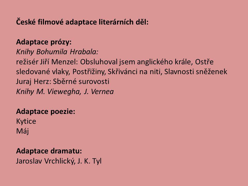 České filmové adaptace literárních děl: