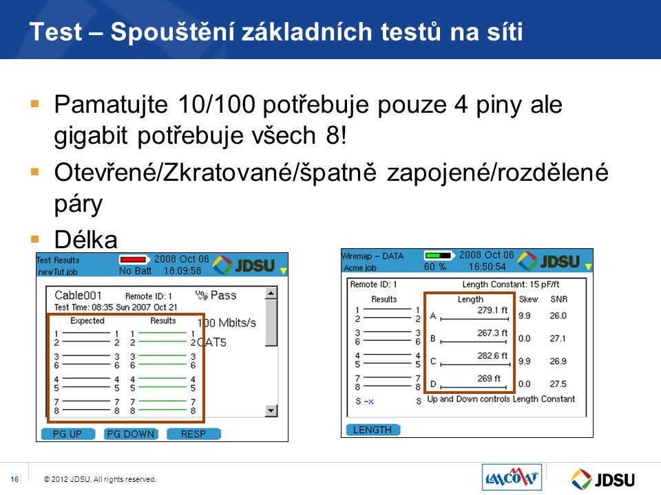 Test – Spouštění základních testů na síti