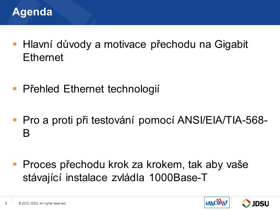 Agenda Hlavní důvody a motivace přechodu na Gigabit Ethernet. Přehled Ethernet technologií. Pro a proti při testování pomocí ANSI/EIA/TIA-568-B.