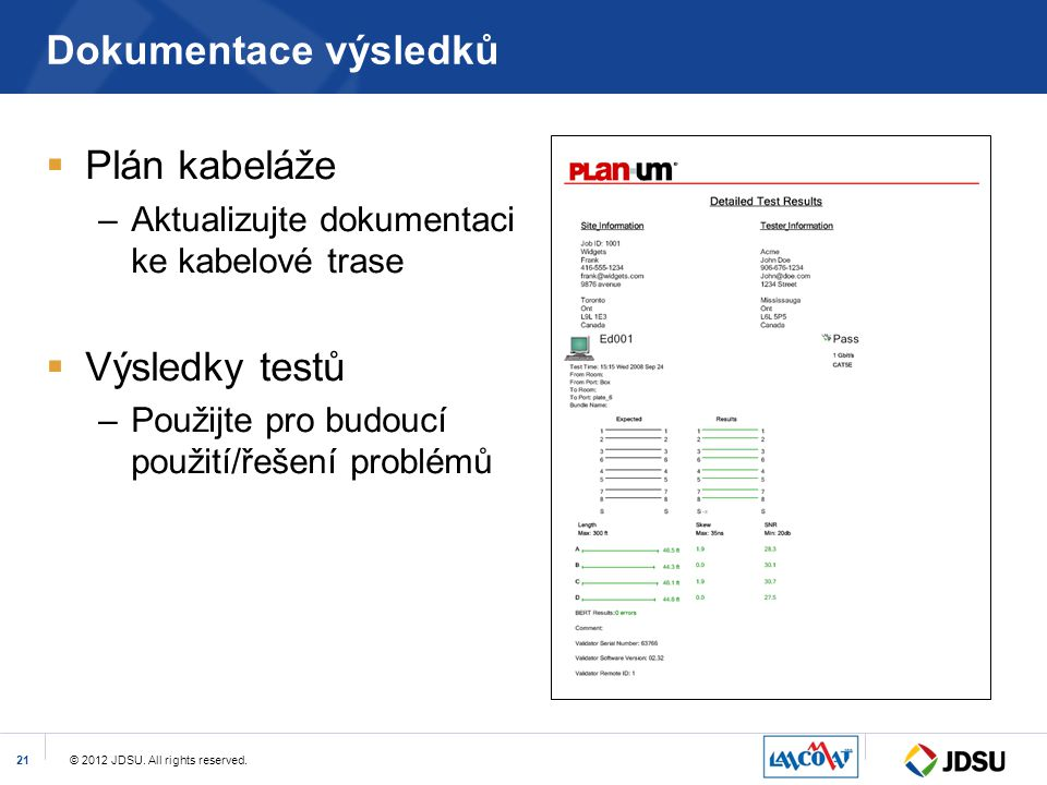 Dokumentace výsledků Plán kabeláže Výsledky testů