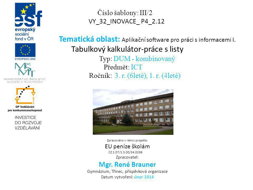 Tematická oblast: Aplikační software pro práci s informacemi I.