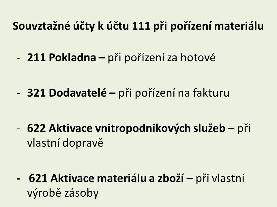 Souvztažné účty k účtu 111 při pořízení materiálu