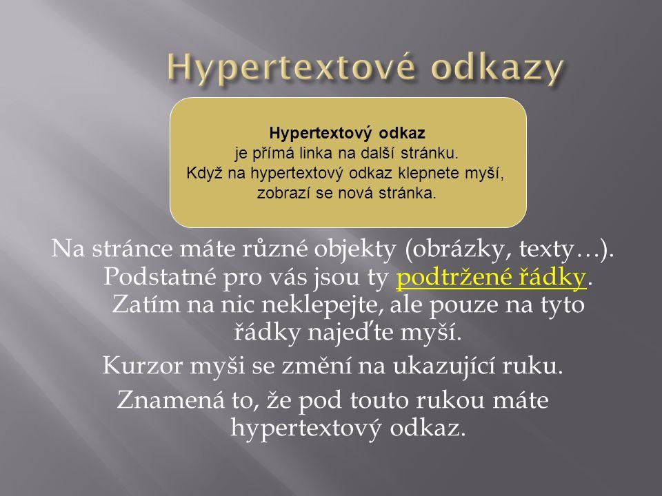 Hypertextové odkazy Hypertextový odkaz. je přímá linka na další stránku. Když na hypertextový odkaz klepnete myší,