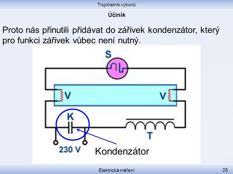 Trojúhelník výkonů Účiník. Proto nás přinutili přidávat do zářivek kondenzátor, který pro funkci zářivek vůbec není nutný.