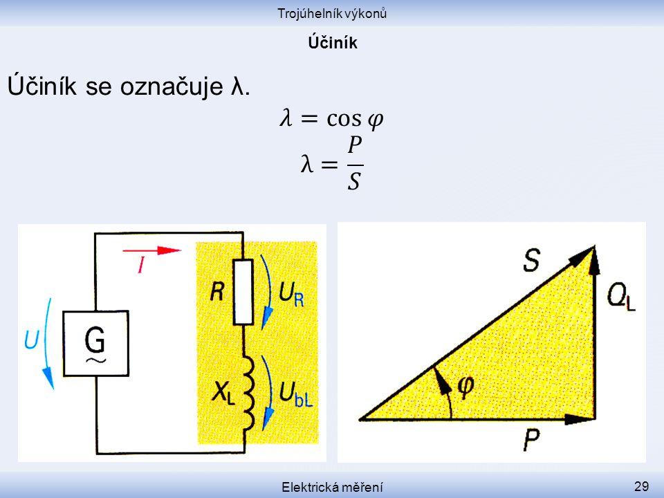 Účiník se označuje λ. 𝜆=cos𝜑 λ= 𝑃 𝑆 Účiník Trojúhelník výkonů