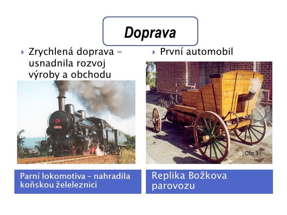 Doprava Zrychlená doprava - usnadnila rozvoj výroby a obchodu