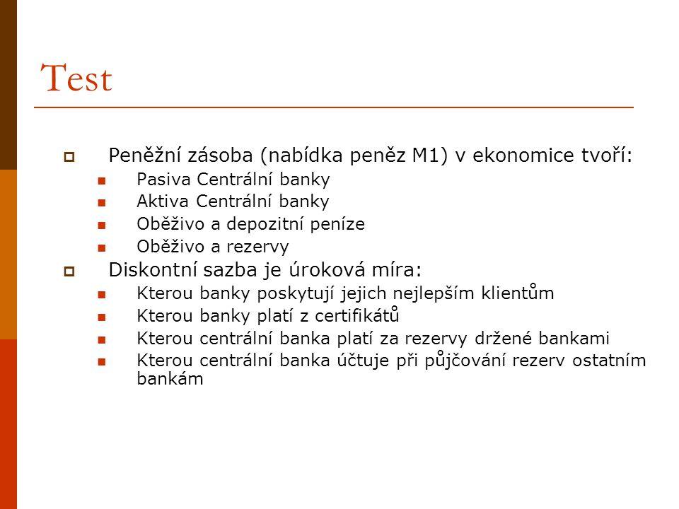 Test Peněžní zásoba (nabídka peněz M1) v ekonomice tvoří: