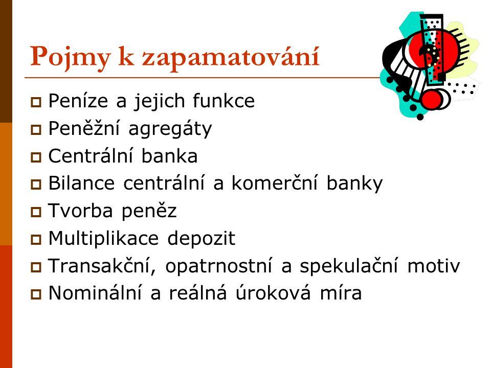 Pojmy k zapamatování Peníze a jejich funkce Peněžní agregáty