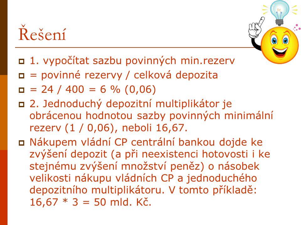 Řešení 1. vypočítat sazbu povinných min.rezerv
