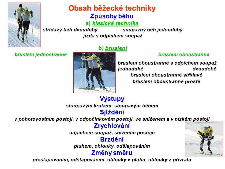 Obsah běžecké techniky Způsoby běhu a) klasická technika střídavý běh dvoudobý soupažný běh jednodobý jízda s odpichem soupaž b) bruslení bruslení jednostranné bruslení oboustranné Výstupy stoupavým krokem, stoupavým během Sjíždění v pohotovostním postoji, v odpočinkovém postoji, ve sníženém a v nízkém postoji Zrychlování odpichem soupaž, snížením postoje Brzdění pluhem, oblouky, odšlapováním Změny směru přešlapováním, odšlapováním, oblouky v pluhu, oblouky z přívratu