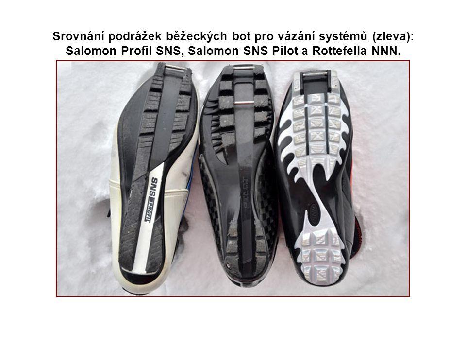 Srovnání podrážek běžeckých bot pro vázání systémů (zleva): Salomon Profil SNS, Salomon SNS Pilot a Rottefella NNN.