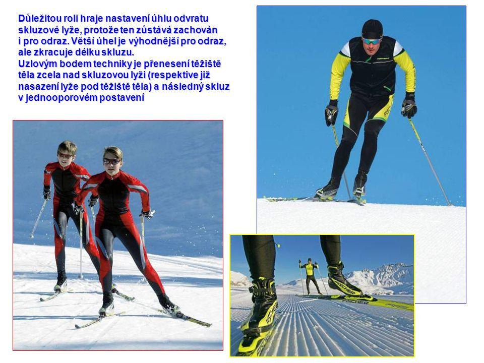 Důležitou roli hraje nastavení úhlu odvratu skluzové lyže, protože ten zůstává zachován i pro odraz.