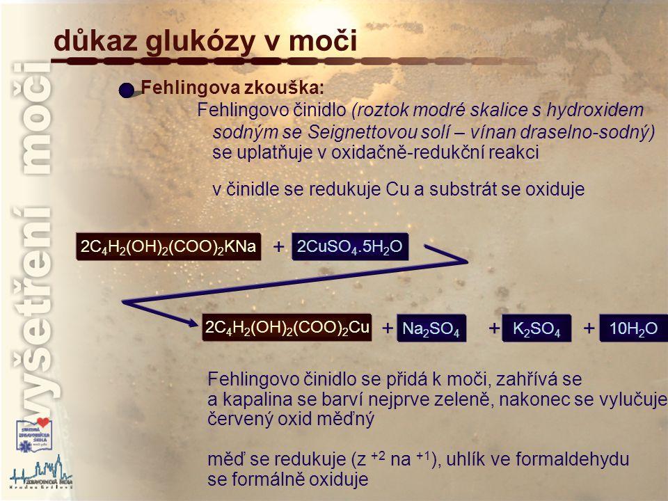 důkaz glukózy v moči + + + + Fehlingova zkouška: